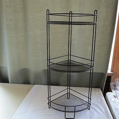 "Vtg Brown Metal/iron Home Decor 3 Shelf Corner Plant Bathroom ++ Stand 27"" Tall"