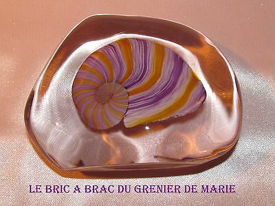 Belle sulfure presse papier cristal escargot violet orange