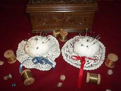 BEAUTIFUL VINTAGE 2 pcs  HANDMADE CROCHET PIN CUSHION