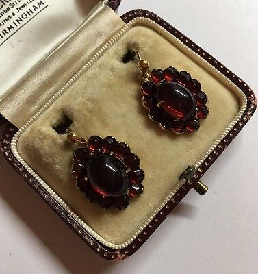 Antique Victorian Large Cab Garnet Paste Cluster Flower Yellow Gold Earrings F
