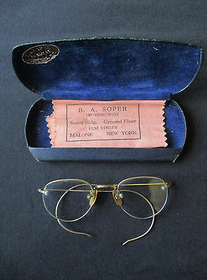 Antique Eyeglasses In Case 12K Gold Frame Rounded Glass Lens Ba Soper Malone Ny