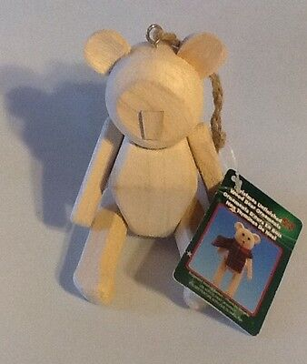 "Unfinished Wooden WOOD CRAFT Jointed BEAR Ornament, 5"" Michael's NEW With tags"