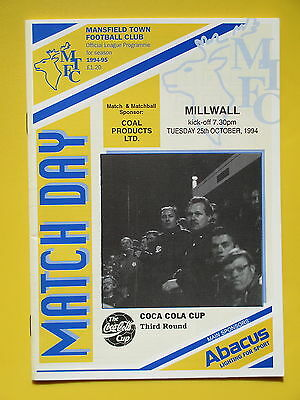 MANSFIELD TOWN v MILLWALL LEAGUE CUP 94/95