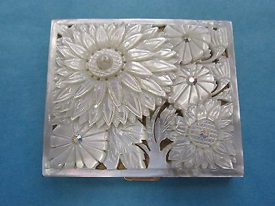 RARE Vintage Deeply Carved Mother of Pearl MOP Flowers Rhinestones Compact
