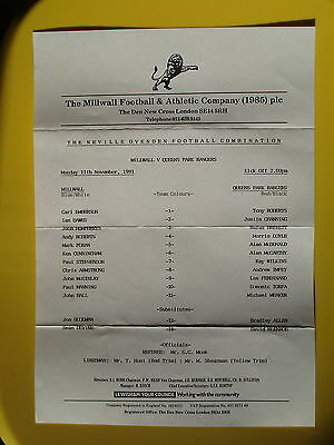 MILLWALL v QUEENS PARK RANGERS RESERVES 91/92 QPR
