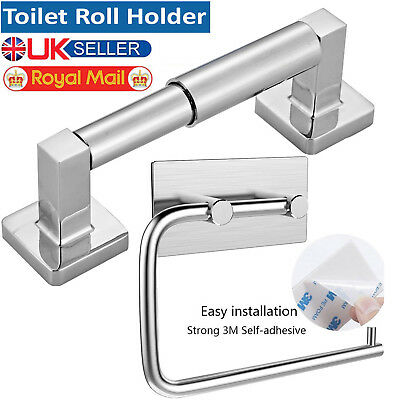 Chrome Square Bathroom Toilet Roll Holder Bar & Towel Ring Set Fittings Included