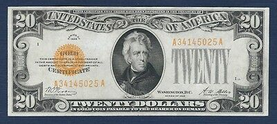 """1928 $20 Gold Certificate """"AU+"""" *Free S/H After 1st Item*"""