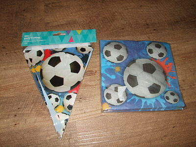 Brand New Football Birthday Party Bunting Banner & Pack of 16 Paper Napkins