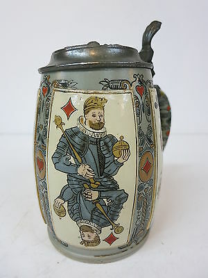 Mettlach Beer Stein Tankard 2093 Suit Playing Cards Student Fraternity Lid