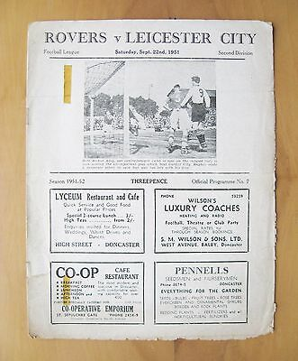 DONCASTER ROVERS v LEICESTER CITY 1951/1952 *Fair Condition Football Programme*