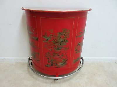 Vintage Chinoiserie Demi Lune Metal Industrial Bar Liquor Cabinet Console Cart