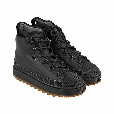 Puma The Ren Boot Mens Black Leather Casual Dress Lace Up Boots Shoes