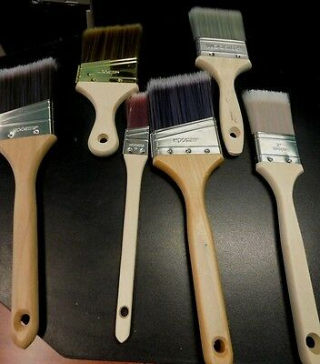 """1- Wooster Usa Made 6-Pc. Paint Brush Set 1-1/2""""-3"""" For Latex Paints New"""
