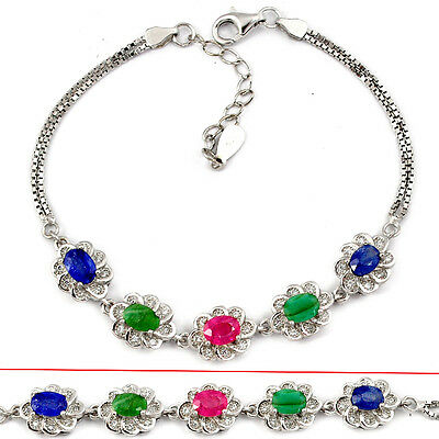 Natural Red Ruby Sapphire Emerald 925 Sterling Silver Link Bracelet T50440