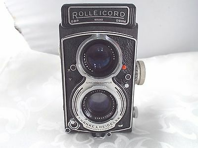 Vintage Franke & Heidecke Rolleicord Twin Lens German Camera In Leather Case