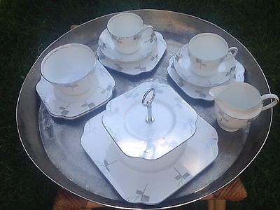 Vintage Art Deco Colclough China Set 2 Trios Jug Sugar Plates
