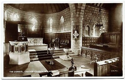 EARLY REAL PHOTO POSTCARD . CHANCEL . CRATHIE CHURCH . BALMORAL . SCOTLAND c1924