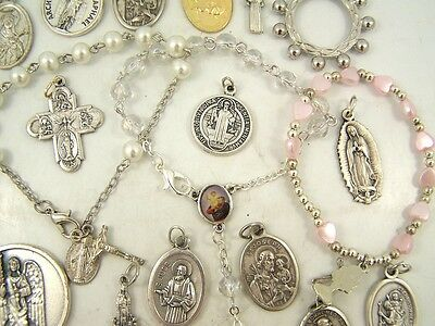 Classic Set of 3 Bead Rosary Bracelets with 19 Piece Religious Medal Lot