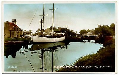 EARLY REAL PHOTO POSTCARD . CRINAN CANAL AT ARDRISHAIG . SCOTLAND . c1937