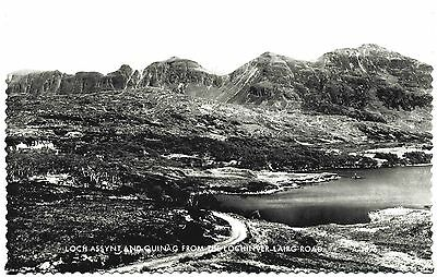 EARLY REAL PHOTO POSTCARD . LOCH ASSYNT AND QUINAG . SCOTLAND . c1935