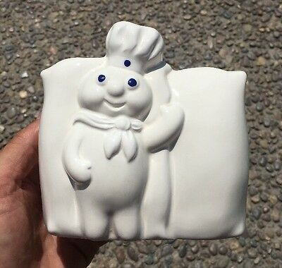 1988 Pillsbury Doughboy Flour Sacks Ceramic Napkin Holder