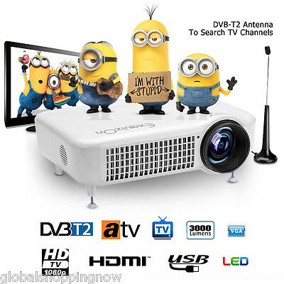 5500Lumens TV Proyector LED HD 1080P Home Theater Cinema AV HDMI VGA USB DTV-T2