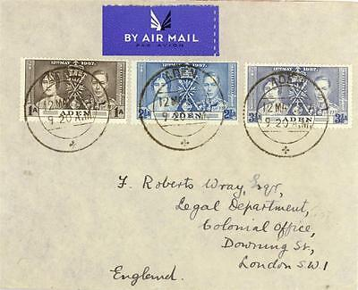 ADEN 1937  AIRMAIL COVER to DOWNING ST LONDON-WITH FULL CORONATION SET