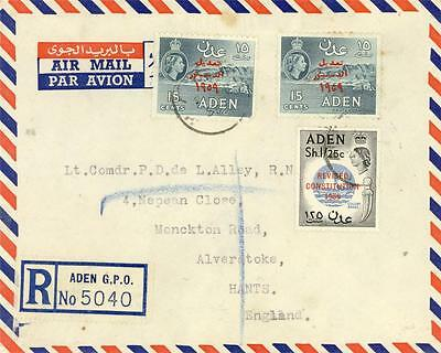 ADEN REGISTERED AIRMAIL COVER to HAMPSHIRE UK 1959
