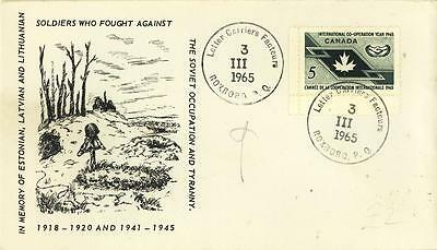 CANADA 1965 COVER re LATVIA+LITHUANIAN SOLDIERS+ LETTER CARRIER FACTEUR ROXBORO