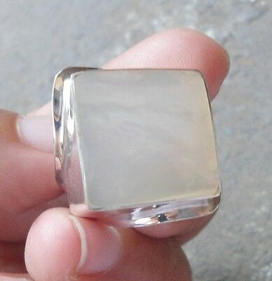 925 Sterling Silver-WH17-Bali Handmade Square Ring White Shell Size 8