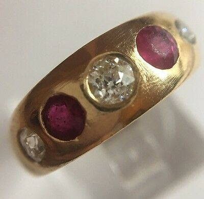 Antique Victorian Yellow Gold Ruby And Diamond Stunning Unusual 5 Stone Ring
