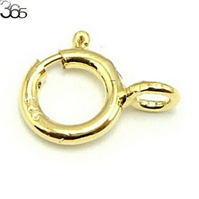 5pcs 925 Sterling Silver Yellow Gold Platd Finding Spring Ring Jewelry Clasp 5mm