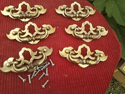 Set Of 6 Old Brass Drawer Pulls With Screws,5 Inches Wide