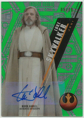Star Wars High Tek 2016 ~ MARK HAMILL Green Auto/Autograph Card SW-96 (#05/10)