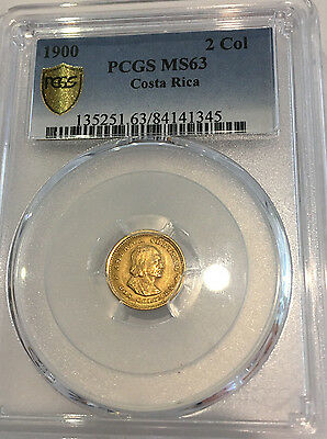 1900 Costa Rice 2 Colones MS 63 PCGS Certified Rare Foreign Gold Coin