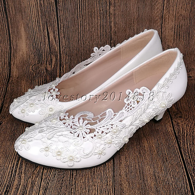 Lace white ivory crystal Wedding shoes Bridal flats/low/high heel pump size 5-10
