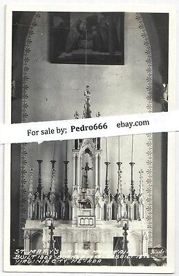Virginia City Nevada St.Mary's Comstocker's Church 1930-50's RPPC EKC Frasher's