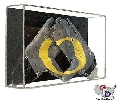 Acrylic Football Glove Display Case Wall Mount UV Protectant NFL NCAA Full Size