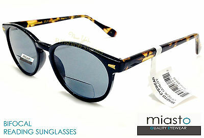 Miasto Round Retro Keyhole Bifocal Reader Reading Sun Glasses/shades+1.25 Black