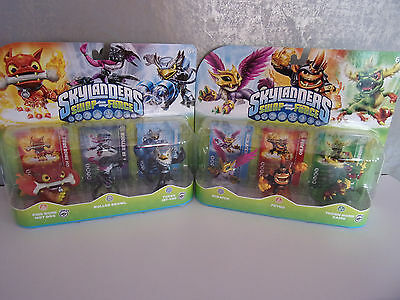 Skylanders Swap Force - 2 x 3 Figuren (Fire Bone Hot Dog, Scratch...) - Neu