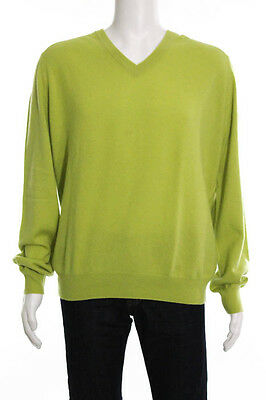 Hermes Green Cashmere V Neck Long Sleeve Sweater Top Size Extra Large