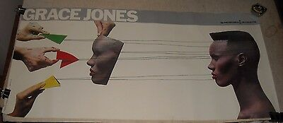 1980's GRACE JONES ISLAND RECORDS  PROMOTIONAL POSTER 18 x 37.5 FULL COLOR