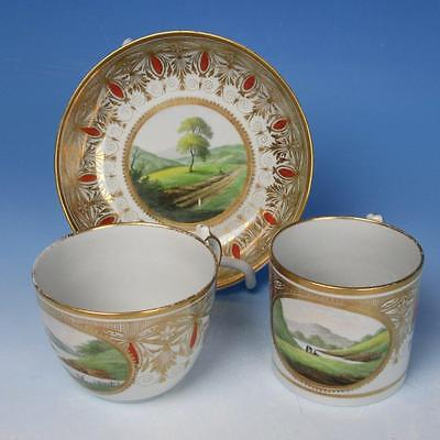 Rare Mason Porcelain Scenic Decorated Cup, Saucer, Coffee Can or Mug  - 1808-10