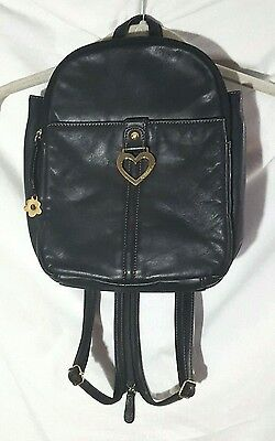 AURIELLE Black Leather Backpack Shoulder Hand Bag Cross Over