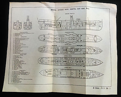 RARE 1905 Plan of Japanese Naval Hospital KOBE MARU Ship Diagram Japan