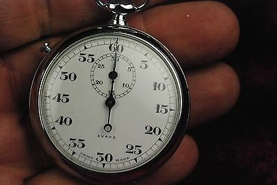 VINTAGE EVANS SWISS MADE POCKET STOP WATCH WORKS has  3 HAND