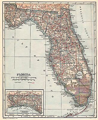 1923 Antique FLORIDA Map Vintage State Map of Florida Gallery Wall Art 3876