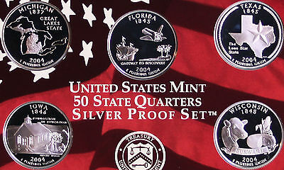 2004 State SILVER US Mint QUARTER Proof Statehood 5 Coins No Box Made in America