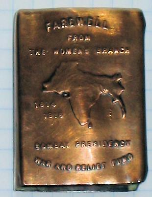 1914-18 Farewell From Women's Branch Bombay Presidency Copper Match Safe Case Vg