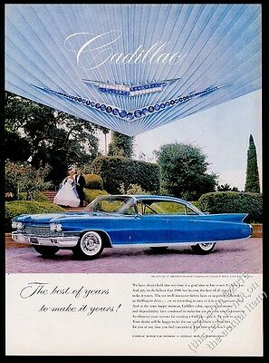 1960 Cadillac Sedan blue car photo vintage print ad